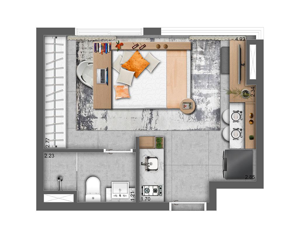 Studio Residencial 23m²