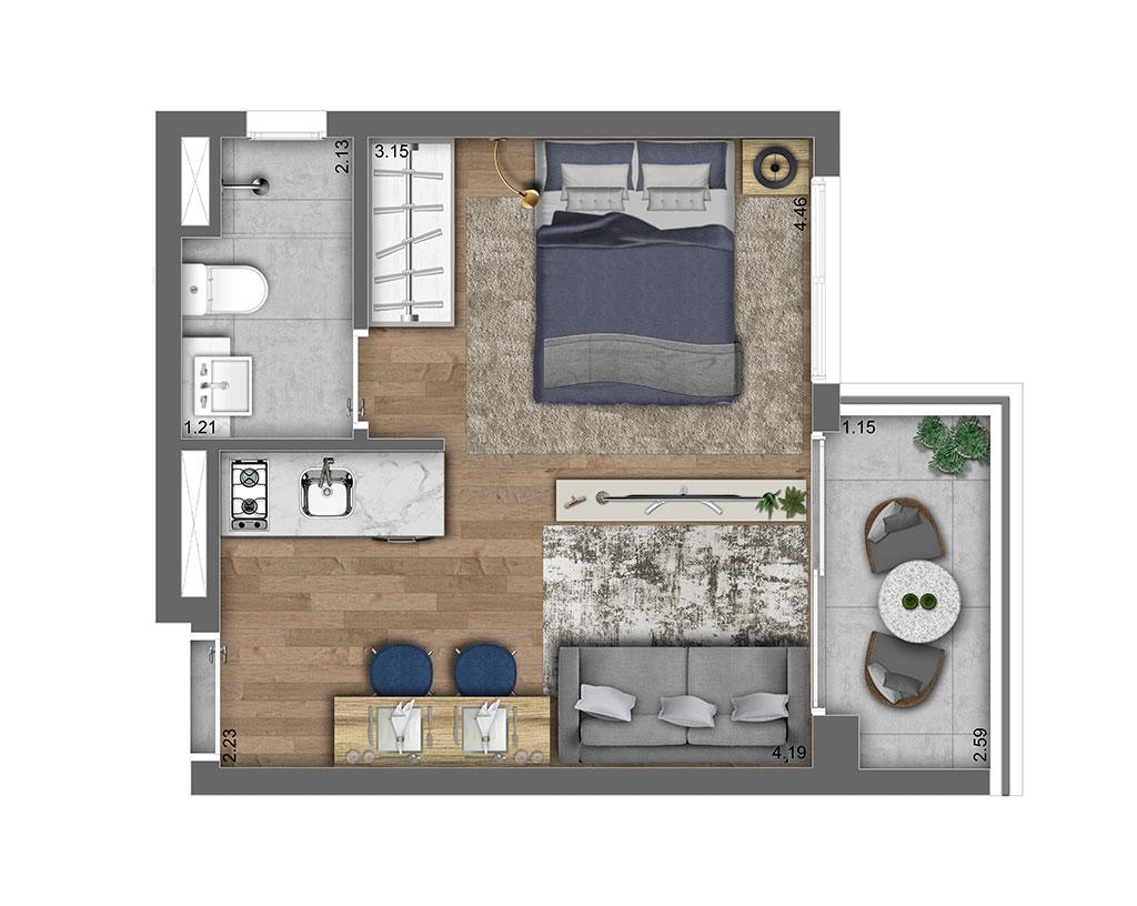 Studio Residencial 25m²