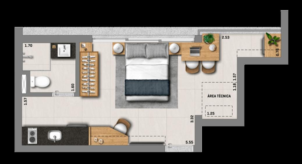 Studio 23,24m²